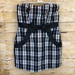 Hot Topic Black Plaid Strapless Mini Dress XL